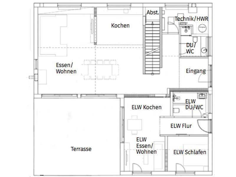 Grundriss Erdgeschoss Entwurf Pultdach Klassik 265 von Luxhaus