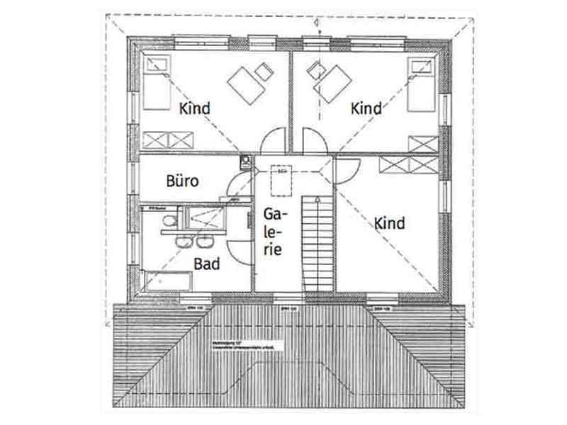 Grundriss Obergeschoss Entwurf Lugana von Roth Massivhaus