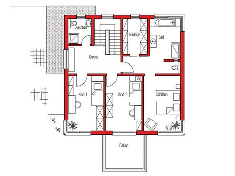 Grundriss Obergeschoss Musterhaus Köln von Fingerhuthaus