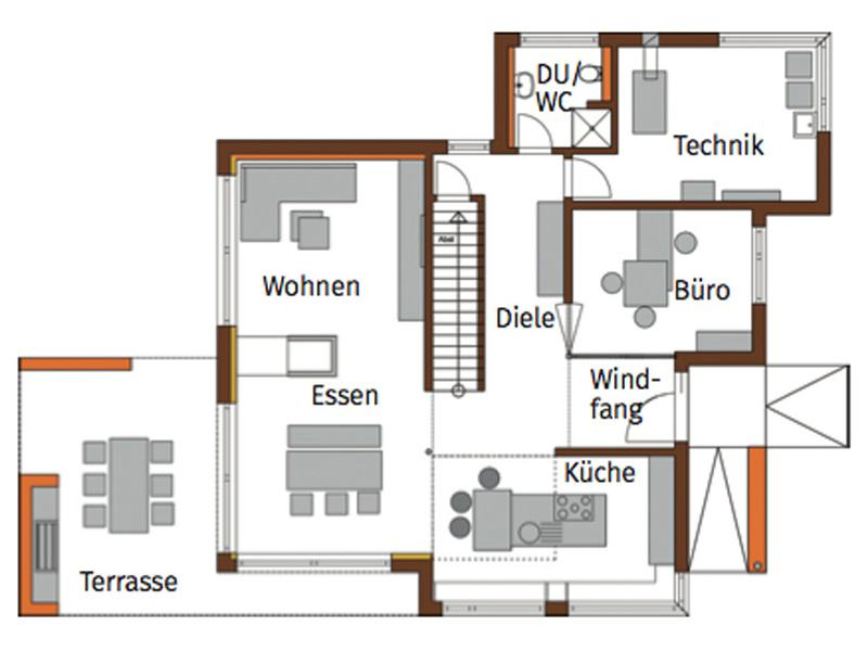 Grundriss Erdgeschoss Musterhaus Fellbach von Bittermann und Weiss