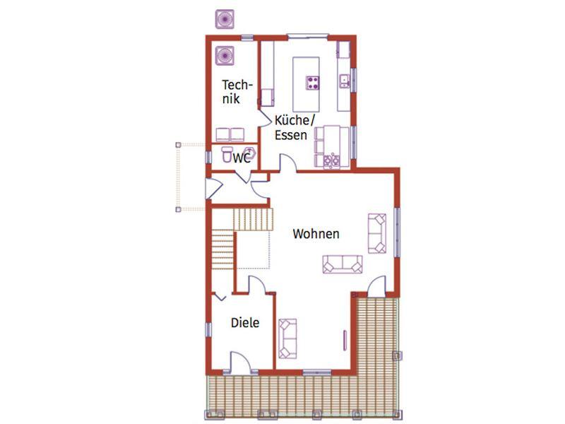 Grundriss Erdgeschoss Entwurf Prairie Boston Haus