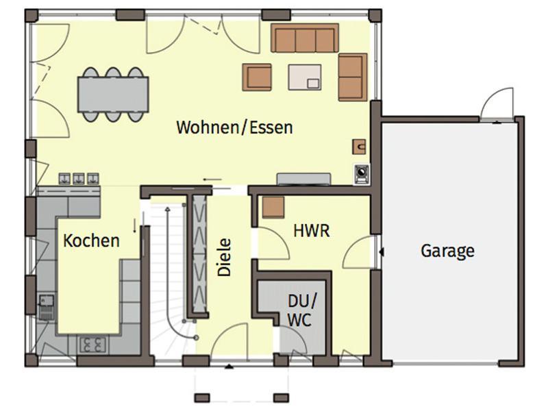 Grundriss Erdgeschoss Entwurf Terrano von Buedenbender