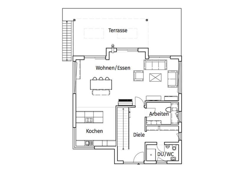 Haus Burgmann von Büdenbender Hausbau. Grundriss Erdgeschoss
