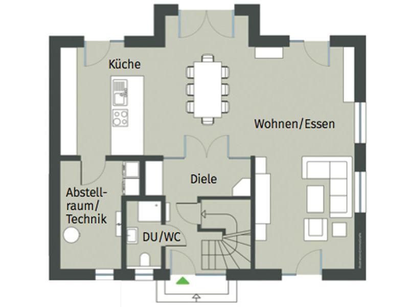 Grundriss Erdgeschoss Haus Erlenbrunn von Gussek Haus
