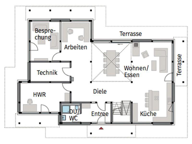 Grundriss Erdgeschoss Modum Flachdach Themse von Haus Haus
