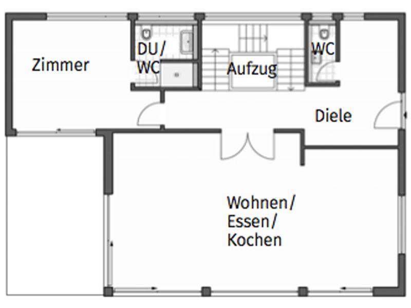 Grundriss Erdgeschoss Entwurf Homestory 733 von Lehner Haus