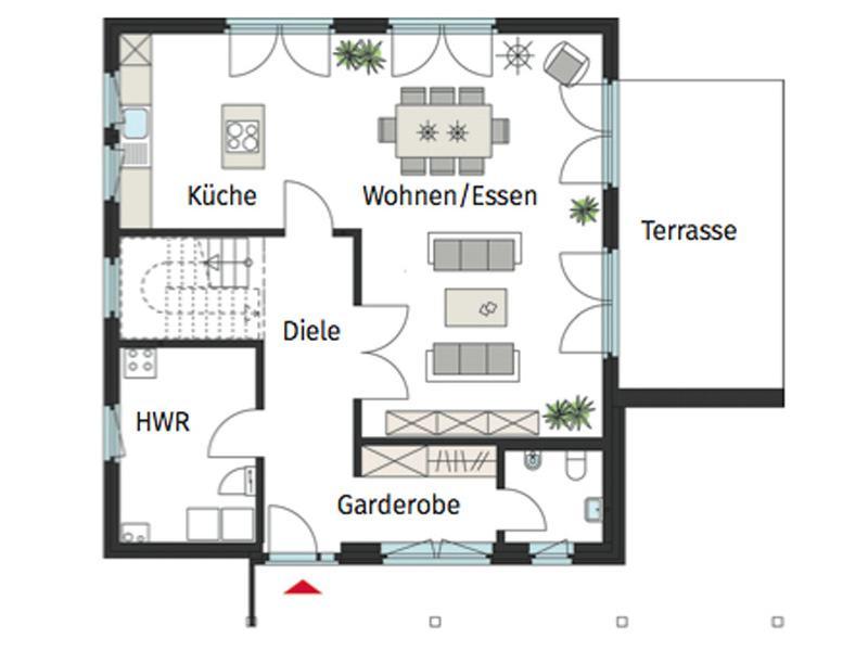 Grundriss Erdgeschoss ProFamily von Gussek Haus