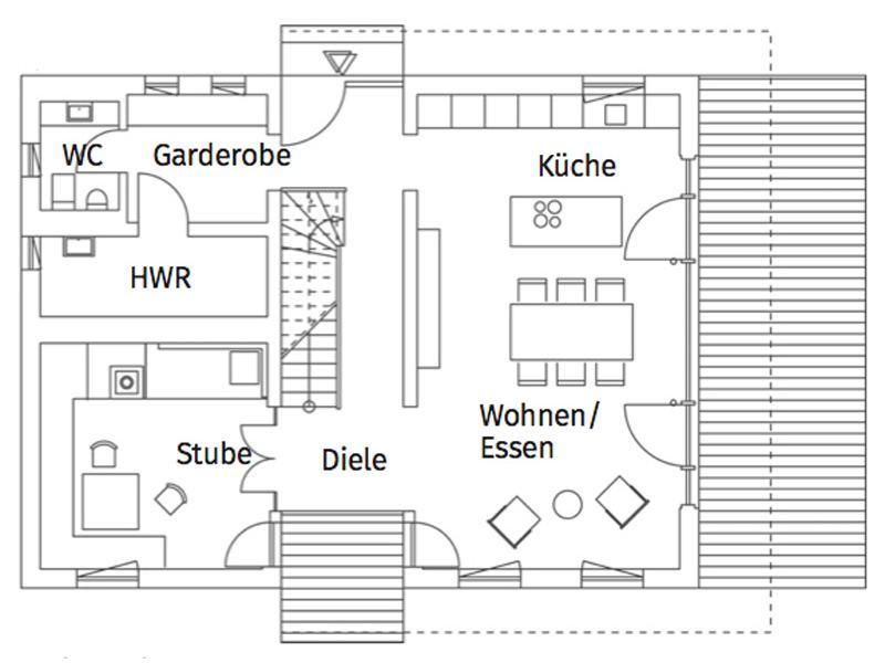Grundriss Erdgeschoss Musterhaus Liesl von Regnauer