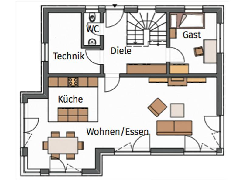Grundriss Erdgeschoss Entwurf Creativ 152 von Rötzer Ziegel-Element-Haus
