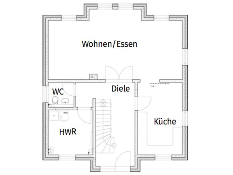Grundriss Erdgeschoss Entwurf Lugana Berlin von Roth Massivhaus