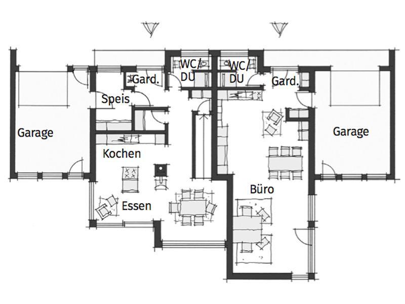 Grundriss Erdgeschoss individueller Entwurf Stauner von Wolf System