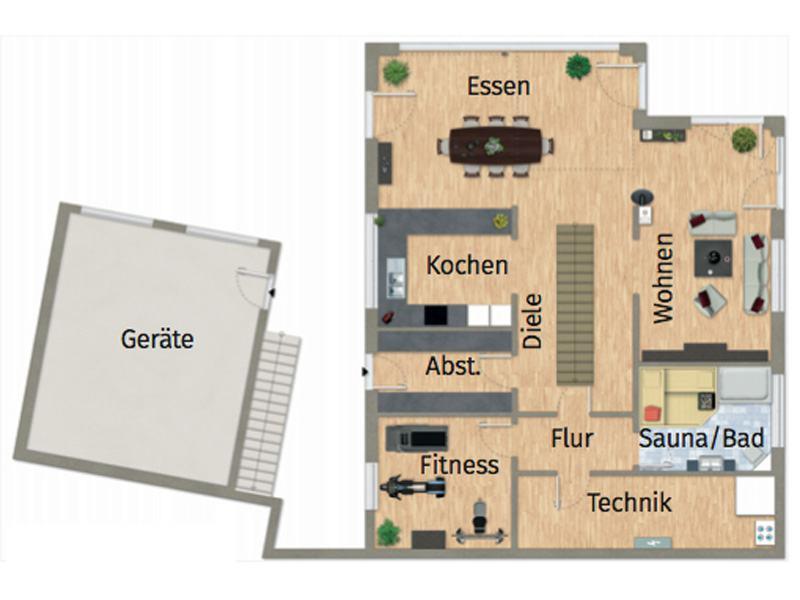 Grundriss Gartengeschoss Entwurf VarioContur 243 von Varioself