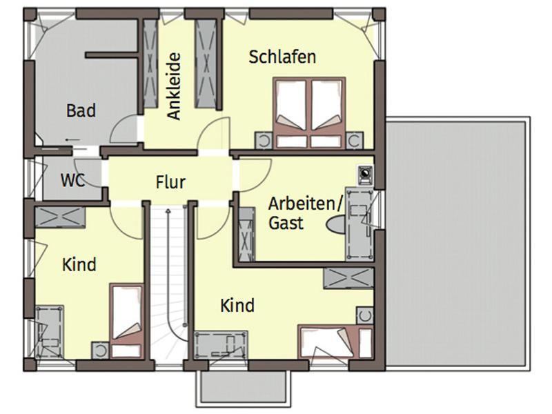 Grundriss Obergeschoss Entwurf Terrano von Buedenbender