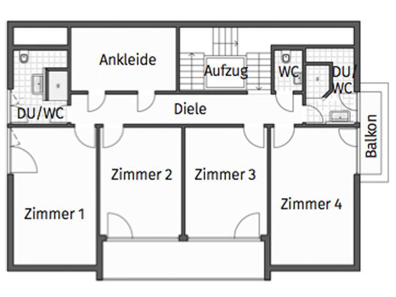 Grundriss Obergeschoss Entwurf Homestory 733 von Lehner Haus