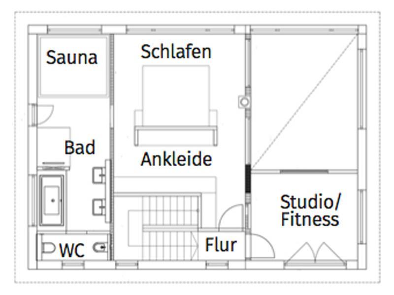 Grundriss Obergeschoss Entwurf Flachdach 300 von Luxhaus