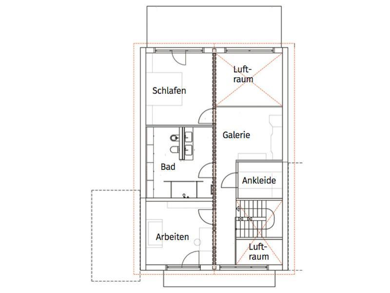 Grundriss Obergeschoss Entwurf Landhaus 165 von Luxhaus