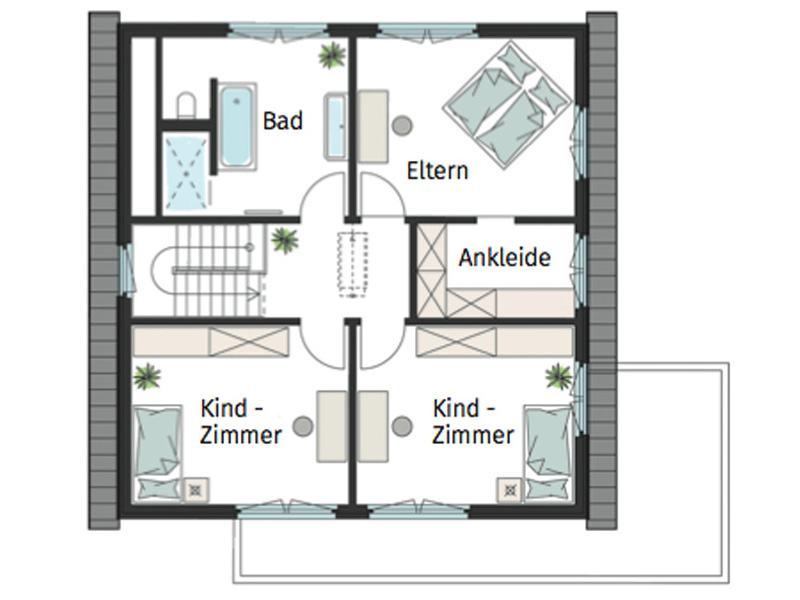 Grundriss Obergeschoss ProFamily von Gussek Haus