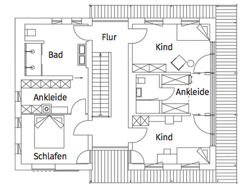 Grundriss Obergeschoss Musterhaus Liesl von Regnauer