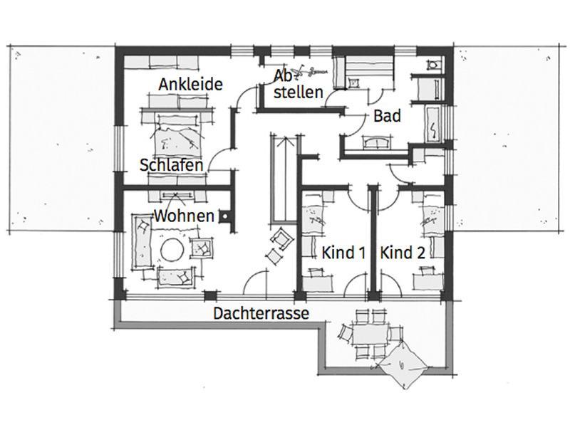 Grundriss Obergeschoss individueller Entwurf Stauner von Wolf System