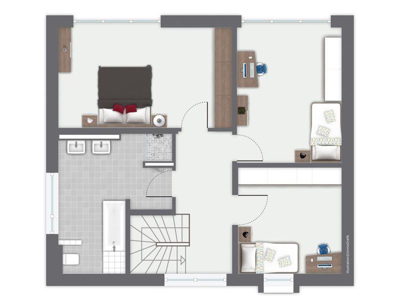 Grundriss Ergeschoss Entwurf San Pedro von Gussek Haus