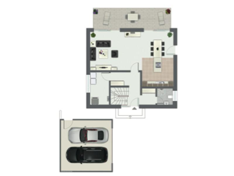 Grundriss Erdgeschoss Entwurf San Pedro von Gussek Haus