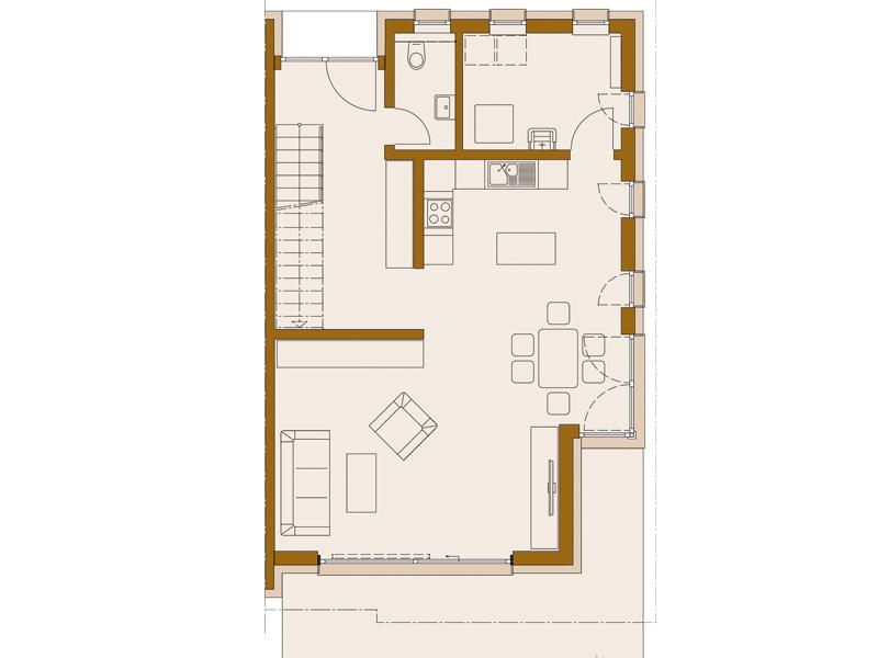Rötzer-Ziegel-Element-Haus: Avantgarde 190. Grundriss Erdgeschoss