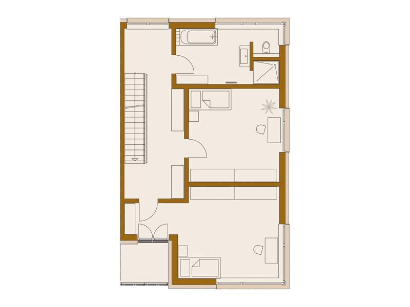Rötzer-Ziegel-Element-Haus: Avantgarde 190. Grundriss Obergeschoss