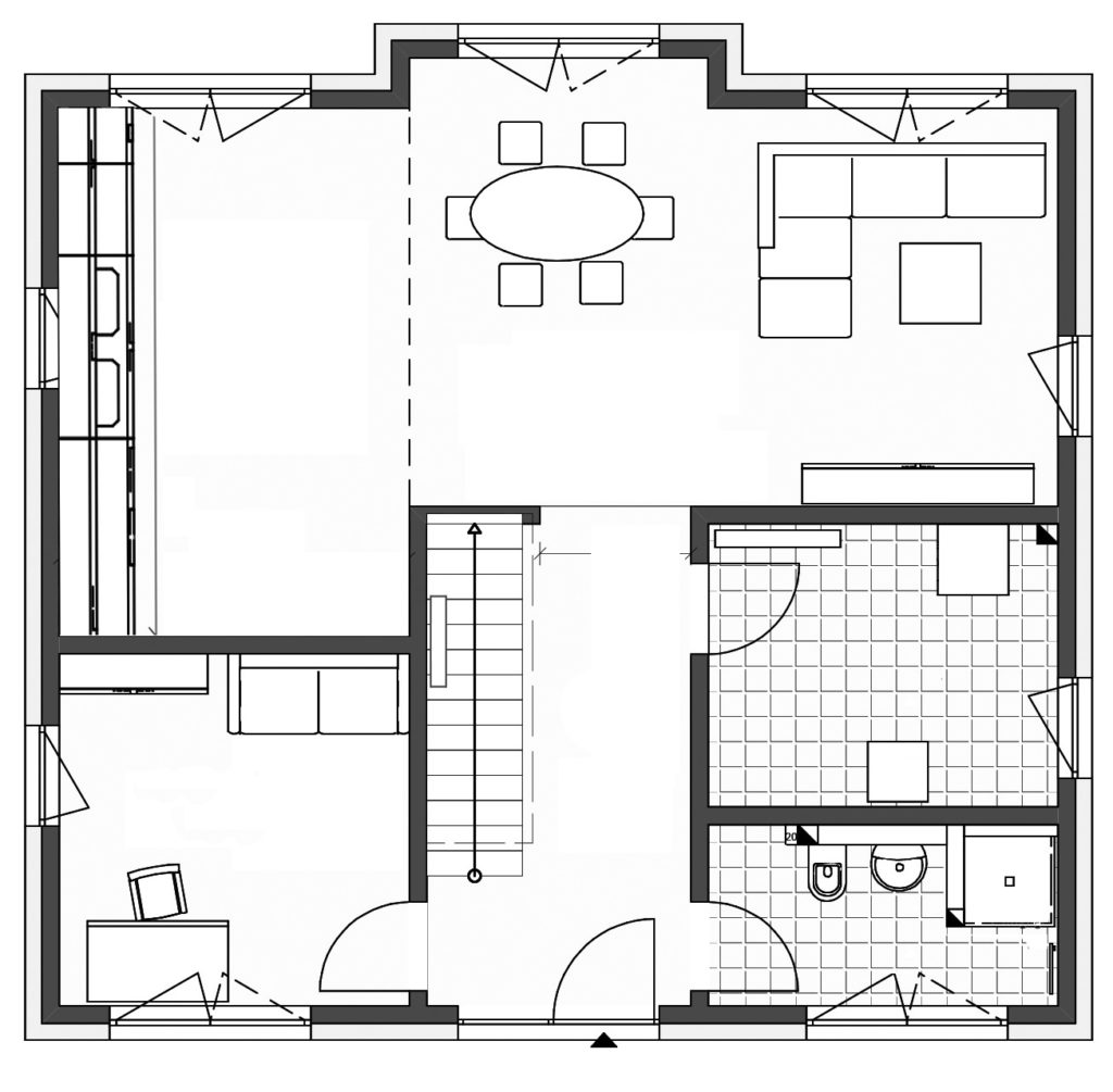 Haus Hamburg von Bau- GmbH Roth, Grundriss Erdgeschoss