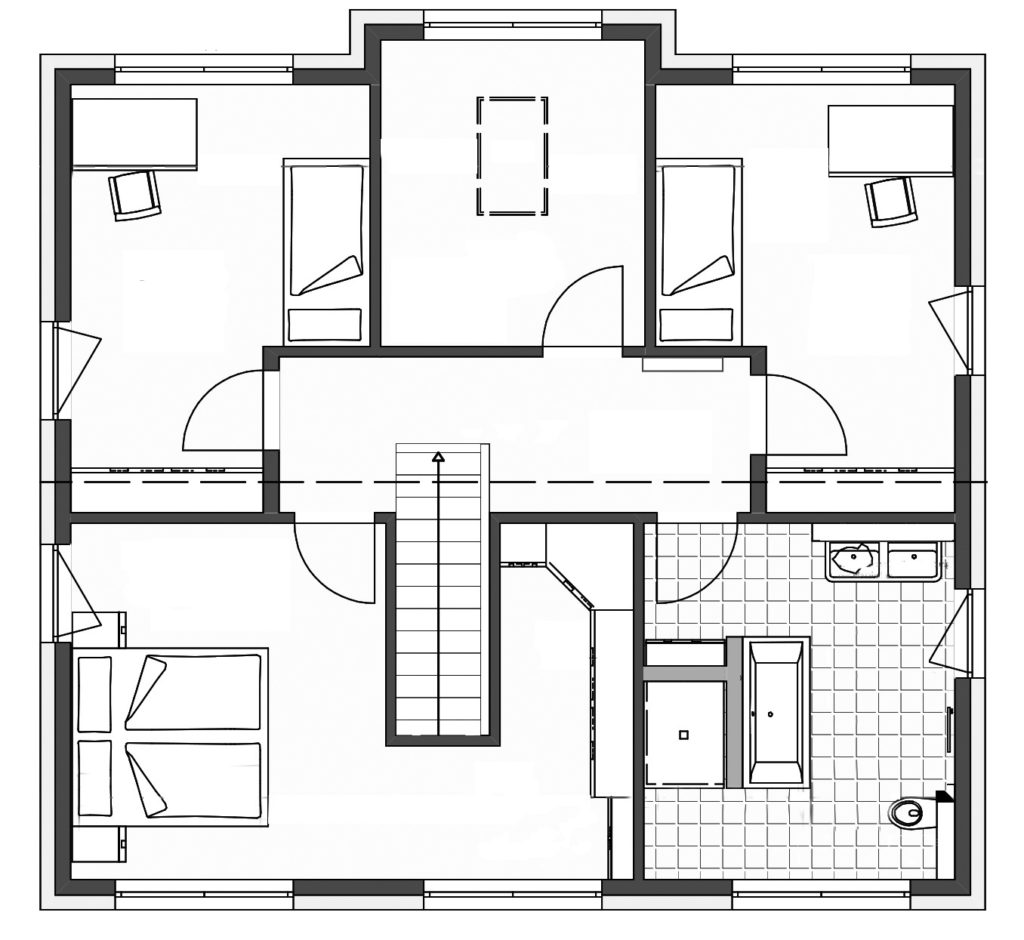 Haus Hamburg von Bau- GmbH Roth, Grundriss Obergeschoss