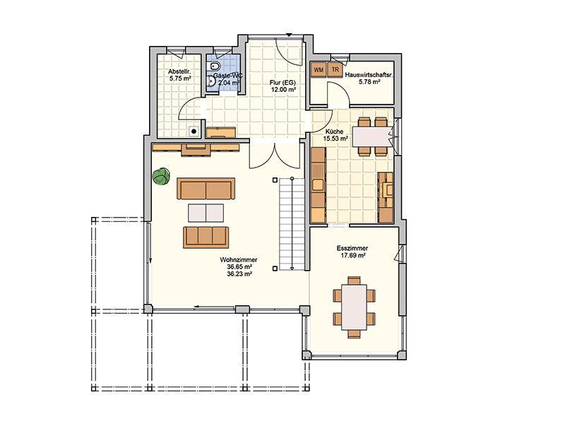 Grundriss Erdgeschoss Entwurf Bela von Fingerhuthaus