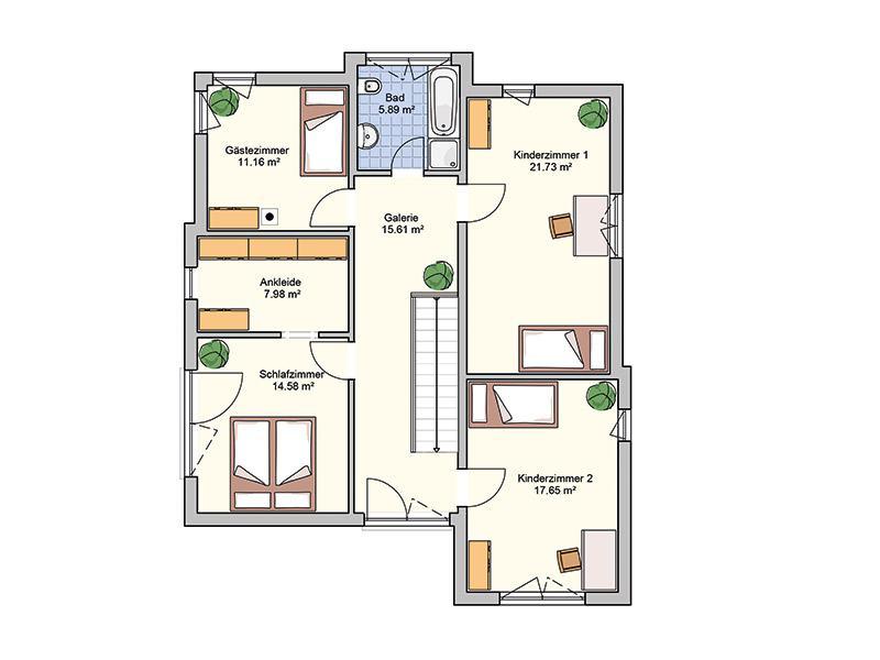 Grundriss Obergeschoss Entwurf Bela von Fingerhuthaus