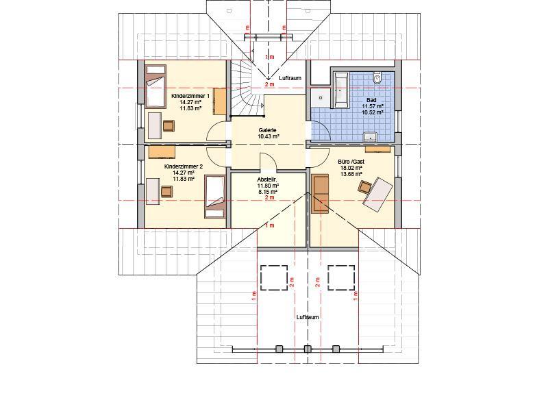 Grundriss Dachgeschoss Entwurf Brilo von Fingerhuthaus