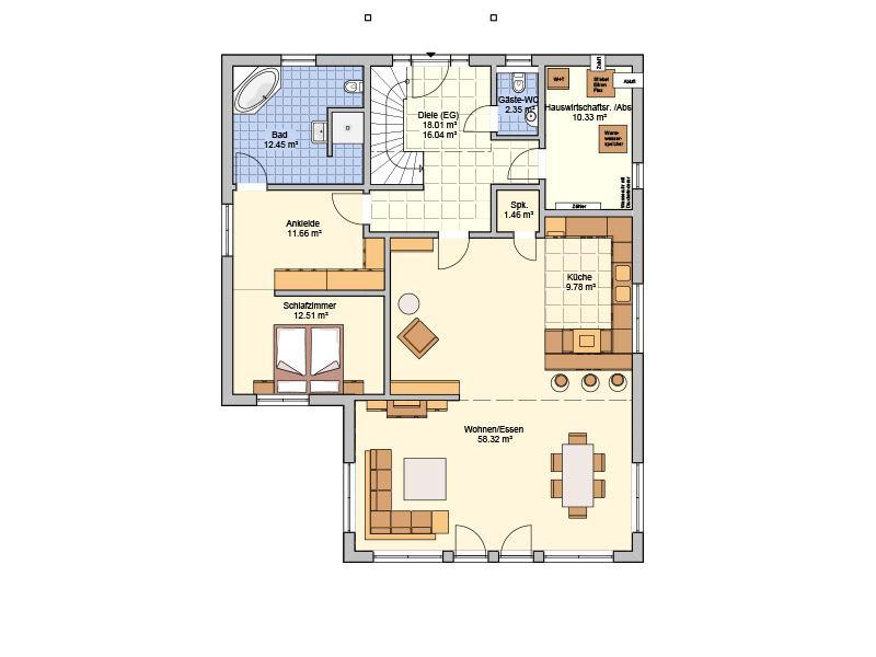 Grundriss Erdgeschoss Entwurf Brilo von Fingerhuthaus