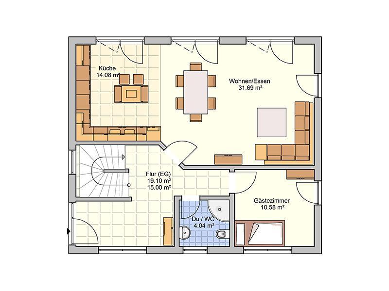 Grundriiss Erdgeschoss Entwurf Cielo von Fingerhuthaus