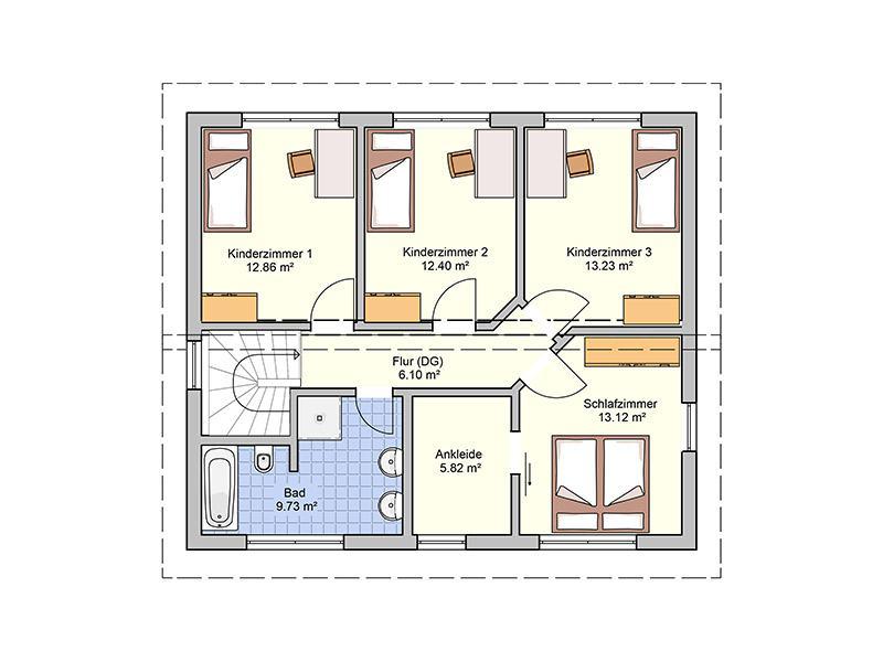 Grundriiss Obergeschoss Entwurf Cielo von Fingerhuthaus