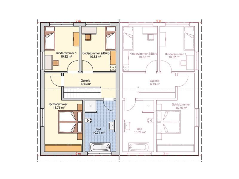 Grundriss Dachgeschoss Entwurf Duett 114 von Fingerhut Haus