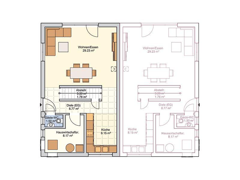 Grundriss Erdgeschoss Entwurf Duett 114 von Fingerhut Haus