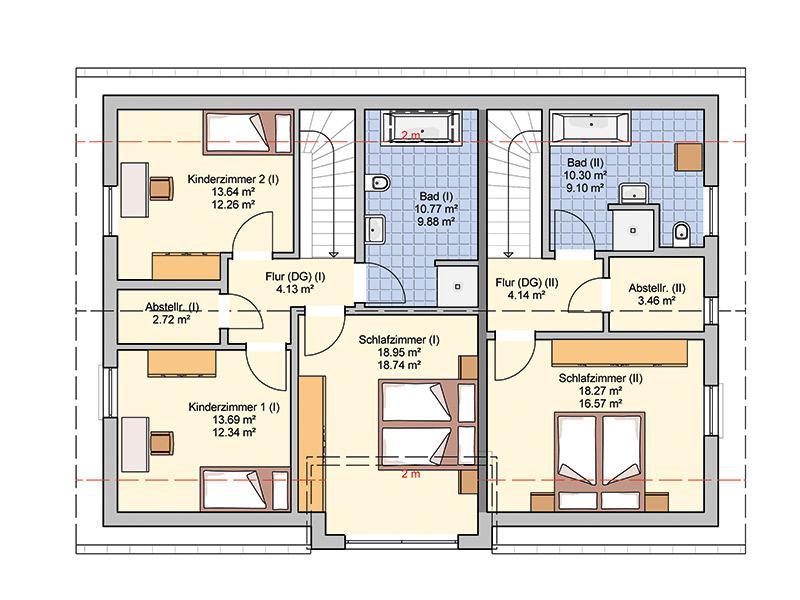 Grundriss Obergeschoss Entwurf Junto 211 von Fingerhut Hau
