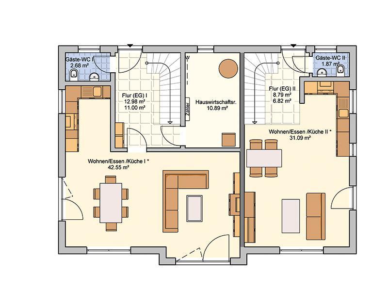 Grundriss Erdgeschoss Entwurf Junto 211 von Fingerhut Haus
