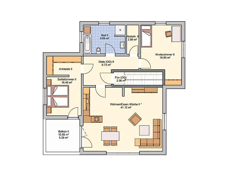 Grundriss Dachgeschoss Entwurf Junto 222 von Fingerhut Haus