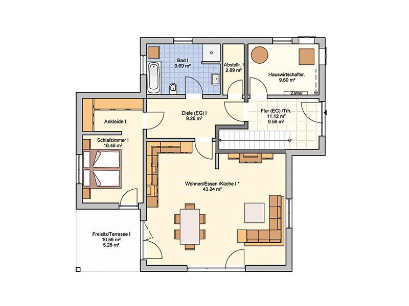 Grundriss Erdgeschoss Entwurf Junto 222 von Fingerhut Haus