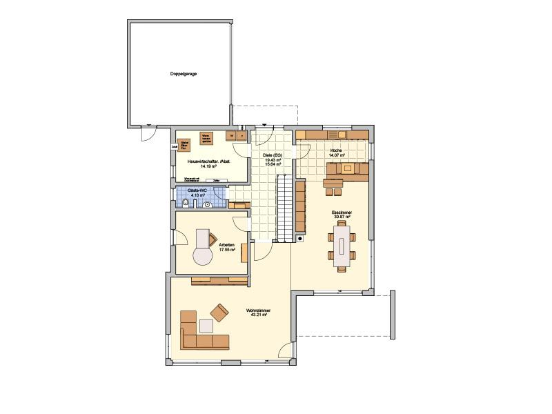Grundriss Erdgeschoss Entwurf Matene von Fingerhut Haus
