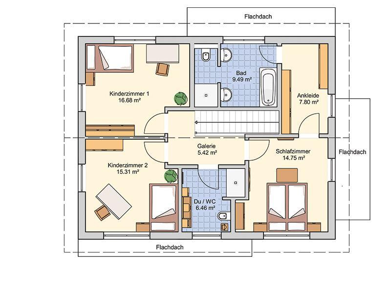 Grundriss Obergeschoss Musterhaus Mannheim von Fingerhut Haus