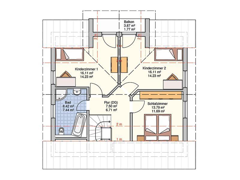 Grundriss Dachgeschoss Musterhaus Neunkhausen von Fingerhut Haus