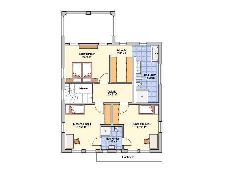 Grundriss Dachgeschoss Entwurf Plata von Fingerhut Haus