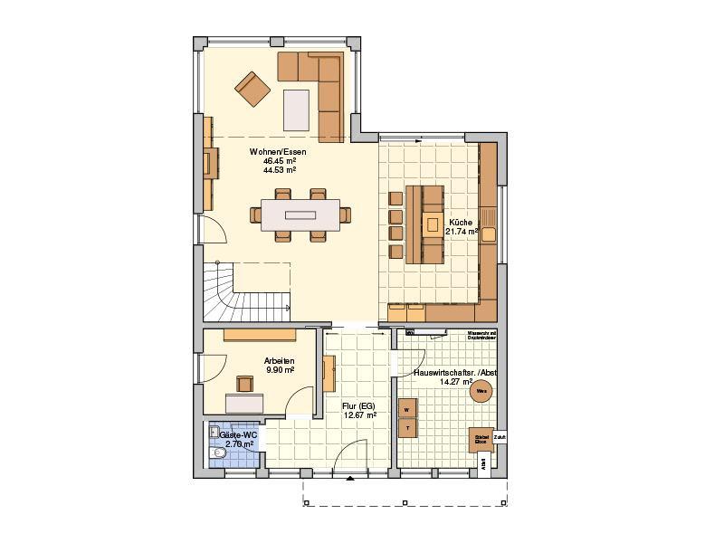 Grundriss Erdgeschoss Entwurf Plata von Fingerhut Haus