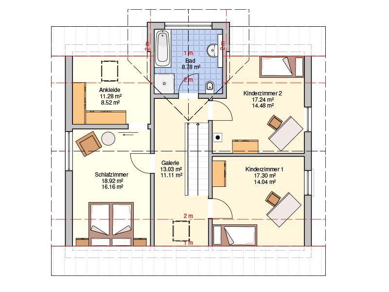 Grundriss Dachgeschoss Entwurf Solera von Fingerhut Haus