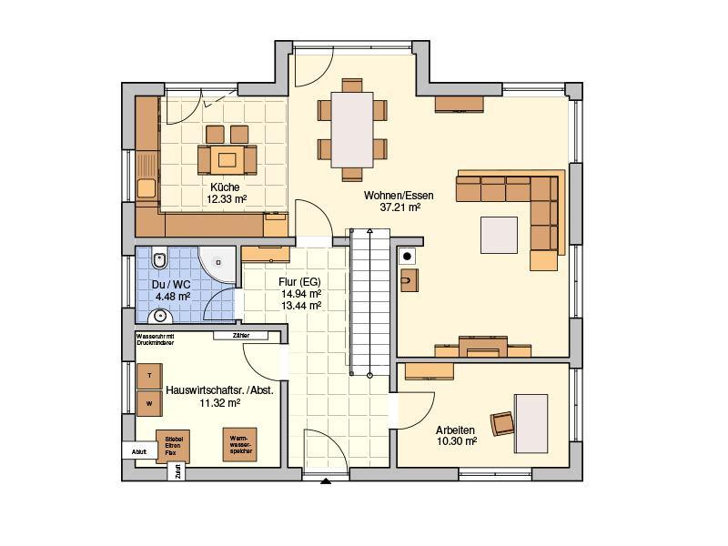 Grundriss Erdgeschoss Entwurf Solera von Fingerhut Haus