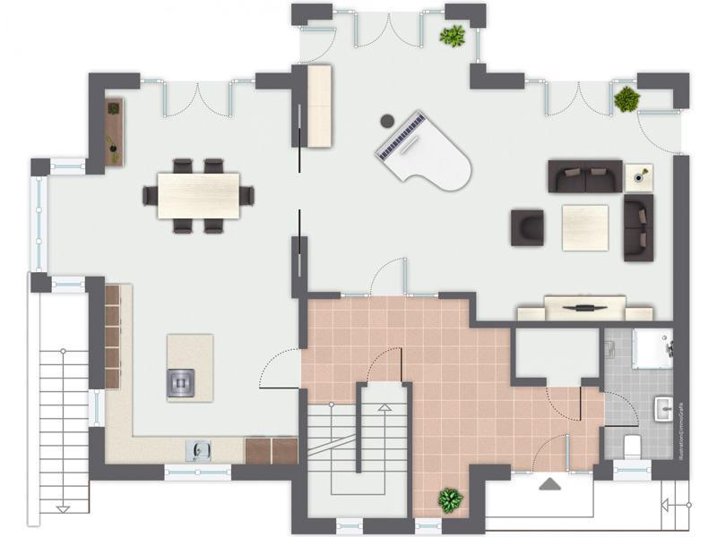 Grundriss Erdgeschoss Entwurf Siebenbrunn von Gussek Haus