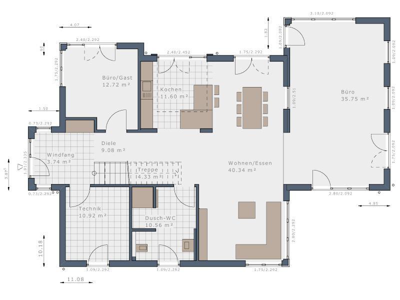 Grundriss Erdgeschoss E 160 Fellbach von Schwabenhaus